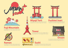 Set of flat line icon and infographic element for Japan travel.. Set of flat line icon and infographic element design . The Japanese letters mean Onsen (hot Royalty Free Stock Images