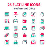 Set of 25 flat line icons. Business and office flat line icons. Set of office items in flat line style. 25 icons isolated on white background. Icons, signs Stock Photos