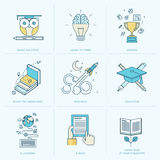 Set of flat line icons for education Stock Photos