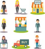 Set of flat line icons for on-line shopping process, order and delivery. Shopping concept with manager, salesman and icons for m-commerce, delivery, internet Royalty Free Stock Photos