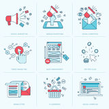 Set of flat line icons for marketing Stock Photo