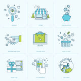 Set of flat line icons for online shopping Stock Images