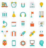 Set Flat Line Icons of School Equipment and Tools Stock Photo
