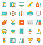 Set Flat Line Icons of School Equipment and Tools Stock Photos