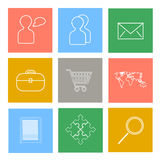 Set of flat line icons. Vector set of flat line icons - people, office, envelope, basket, world map, notepad, puzzle symbol and magnifying glass Royalty Free Stock Photography