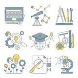 Set flat line icons for web development. Set of flat line icons for web development. Icons for application development, web page coding and programming, seo Royalty Free Stock Photography