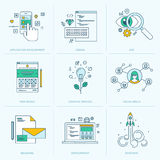 Set of flat line icons for web development. Icons for application development, web page coding and programming, seo, web design, creative process, social media royalty free illustration