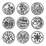 Set of flat line icons on the winter holidays. Set of flat line icons on the New Year`s and Christmas Holiday. Decorative contour elements on the feast Stock Image