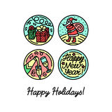 Set of flat line icons on the winter holidays. Set of flat line icons on the New Year`s and Christmas Holiday. Decorative elements on the feast Royalty Free Stock Images