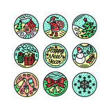 Set of flat line icons on the winter holidays. Set of flat line icons on the New Year`s and Christmas Holiday. Decorative elements on the feast Stock Photography