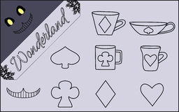 Set of Flat Line Isolated Objects from Alice in. Wonderland World- Vector Illustration Stock Photo