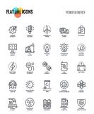 Flat line icons design-Power and Energy. Set of flat line Power and Energy icons suitable for mobile concepts, web application, printed media and infographics Royalty Free Stock Photos