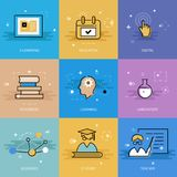 Modern education theme in flat line Stock Images