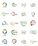 Set of flat linear design speech cloud logos. Talk bubbles, modern geometric industrial thin line icons Royalty Free Stock Photography