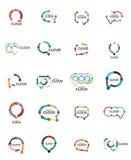 Set of flat linear design speech cloud logos. Talk bubbles, modern geometric industrial thin line icons Stock Photos