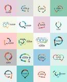 Set of flat linear design speech cloud logos. Talk bubbles, modern geometric industrial thin line icons Royalty Free Stock Photos