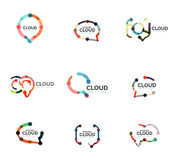 Set of flat linear design speech cloud logos. Talk bubbles, modern geometric industrial thin line icons Royalty Free Stock Image
