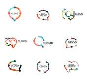 Set of flat linear design speech cloud logos. Talk bubbles, modern geometric industrial thin line icons Royalty Free Stock Image
