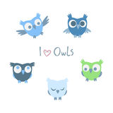 Set of flat little owls. The vector picture. EPS 10 Stock Photo