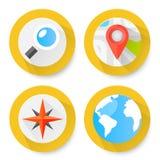 Set of flat location icons Stock Photo