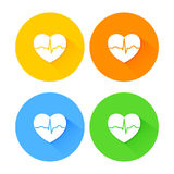 Set of flat long shadow heart icons Royalty Free Stock Photo