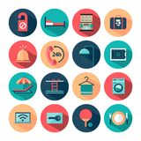 Set of flat long shadow hotel icons Royalty Free Stock Photography