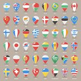 Set of Flat Map Pointers With World States Flags Royalty Free Stock Photo