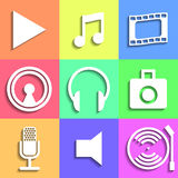 Set of flat Media Icons Royalty Free Stock Photography