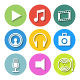 Set of Flat Media Icons. Vector Royalty Free Stock Photos