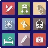 Set of flat medical icons. Set of colorful flat medical and healthcare icons depicting a syringe, nurse, stethoscope, bandages, plasters, DNA molecule, ambulance Royalty Free Stock Photography