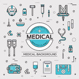 Set flat medical icons illustration concept. Vector background with medicine label. Thin lines outline design. Set flat medical icons illustration concept Royalty Free Stock Photos