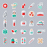 Set of Flat Medical Icons Stickers. Royalty Free Stock Photos