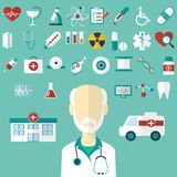 Set of flat Medical icons. Royalty Free Stock Image