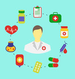 Set flat medical icons for web design Royalty Free Stock Image