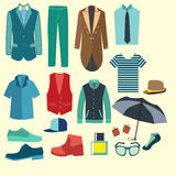 Set of flat men clothes and accessories icons - Illustration Stock Photos