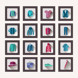 Set of flat men clothes and accessories icons Royalty Free Stock Image