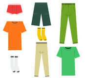 Set of flat men clothes and accessories. Royalty Free Stock Image