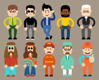 Set of flat men different professions. Royalty Free Stock Photography