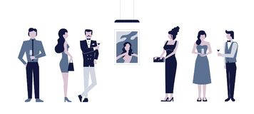Set of flat men and women dressed in costumes and evening dresses.  royalty free illustration