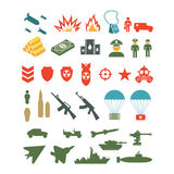 Set of flat military infographics icons Royalty Free Stock Images