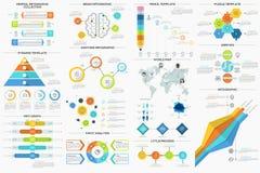 Set Of 9 Flat Minimal Infographics. Big collection of flat minimal infographic templates. Vector. Can be used for web design, workflow layout, social media Royalty Free Illustration