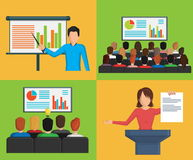 Set of flat minimalistic illustrations, conference business meeting situations Stock Photo