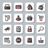 Set of flat modern shopping web icons. Modern design vector illustration flat icon set with long shadow style of shopping objects. on gray background royalty free illustration