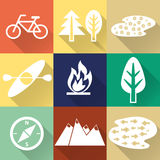 Set of flat monochromatic hiking, trekking and camping icons. Royalty Free Stock Photography
