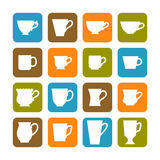 Set of flat mugs on a colored background Stock Photography