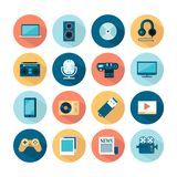 Set of flat multimedia icons Royalty Free Stock Image