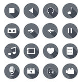 Set of flat multimedia icons Royalty Free Stock Photo