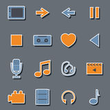 Set of flat multimedia stickers Stock Photography