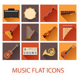 Set of flat music icons Stock Photography
