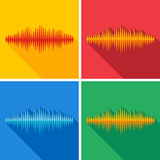 Set of flat music wave icons Royalty Free Stock Photography